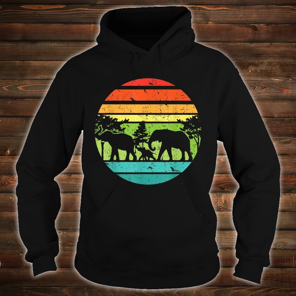 Vintage Elephant Retro Sunset Colors Silhouette Elephant Shirt hoodie