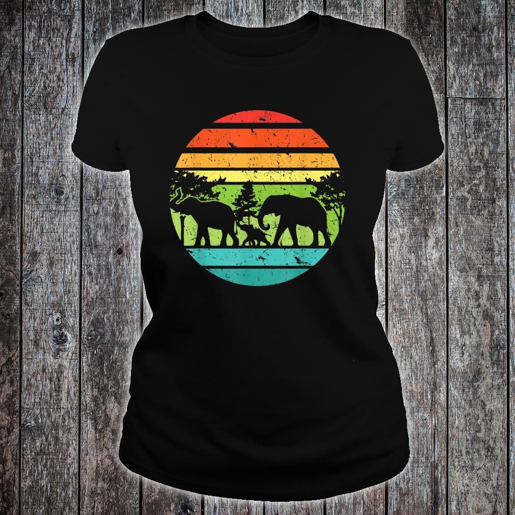 Vintage Elephant Retro Sunset Colors Silhouette Elephant Shirt ladies tee