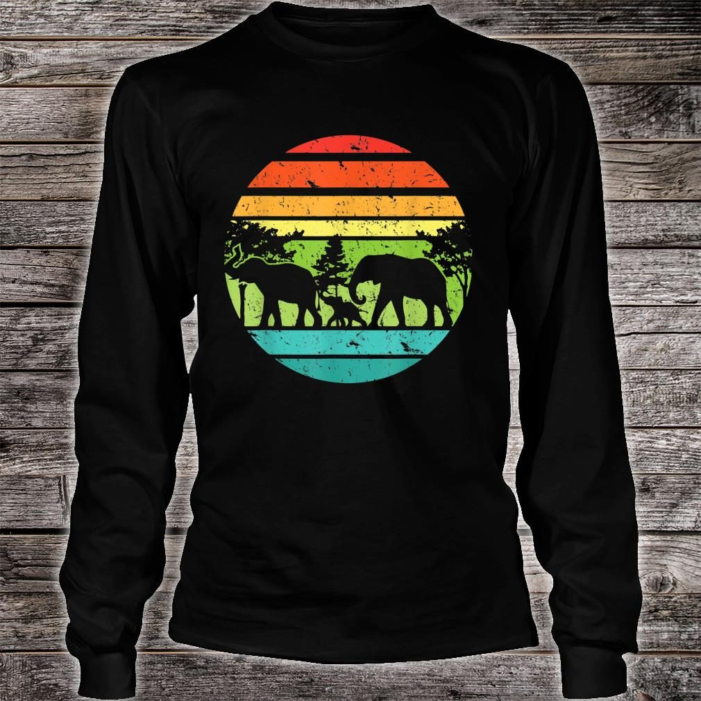 Vintage Elephant Retro Sunset Colors Silhouette Elephant Shirt long sleeved