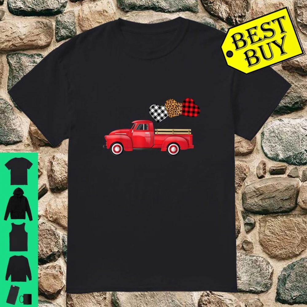 Vintage Truck Three Hearts Leopard Buffalo Plaid Valentine's Shirt
