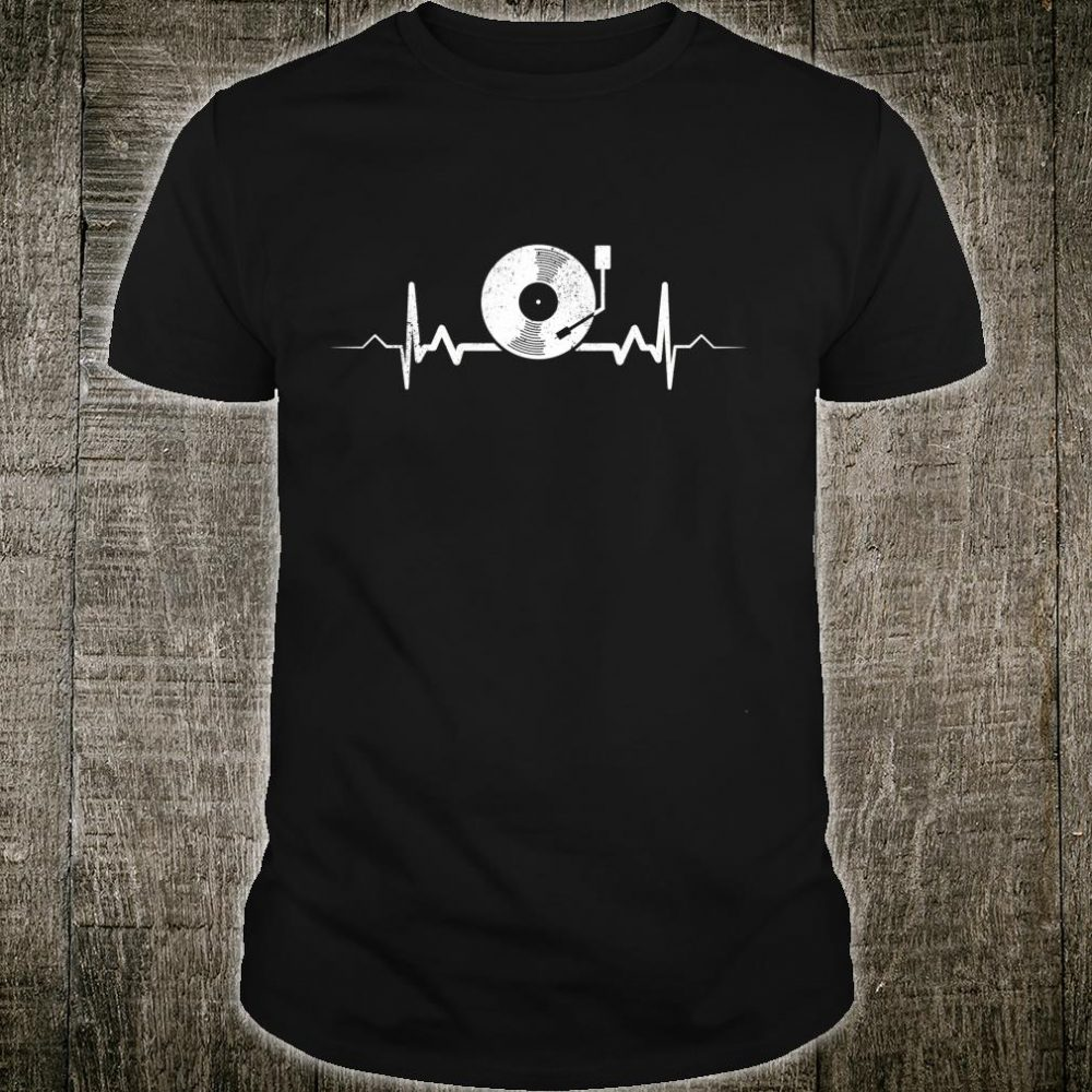Vinyl Record Heartbeat Vintage Retro Old School DJ Shirt