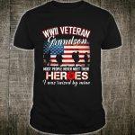 WWII Veteran Grandson Flower Combat Boots Veteran's Day Shirt