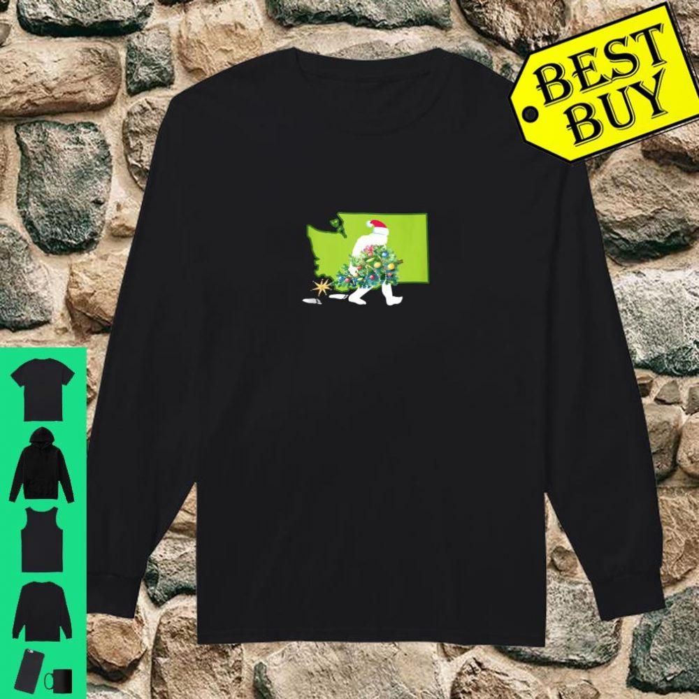 Washington Bigfoot State Christmas Tree Shirt long sleeved