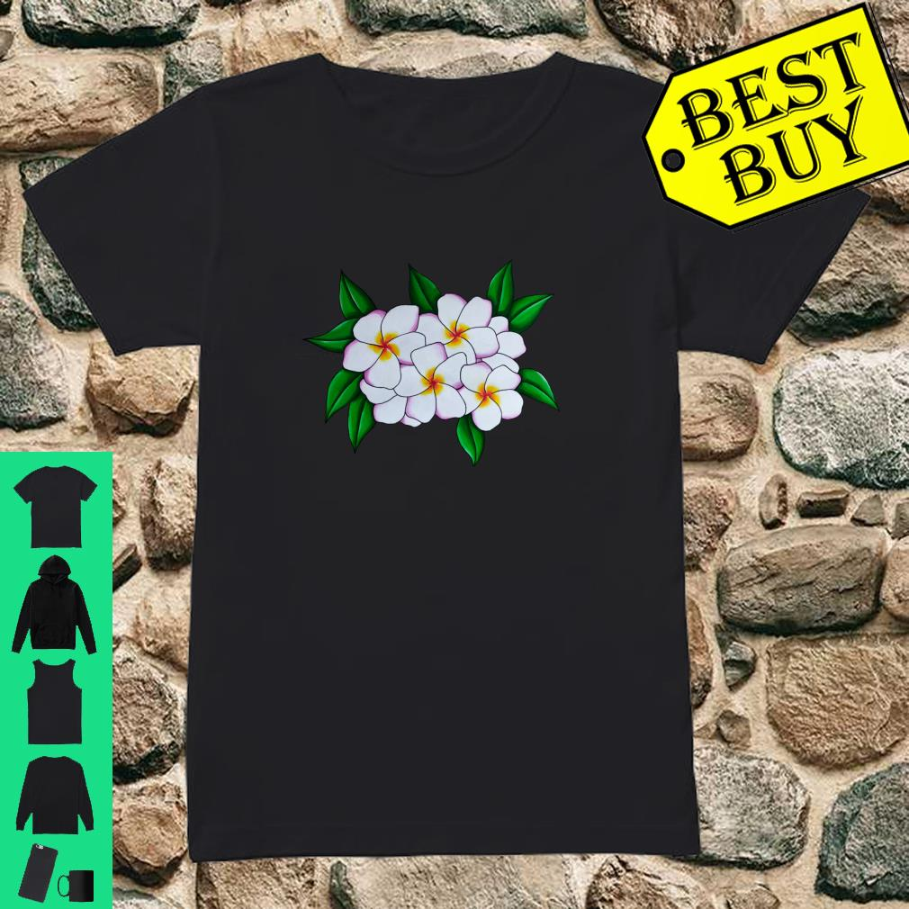 White Tropical Frangipani Flower Head Guam Plant Shirt ladies tee