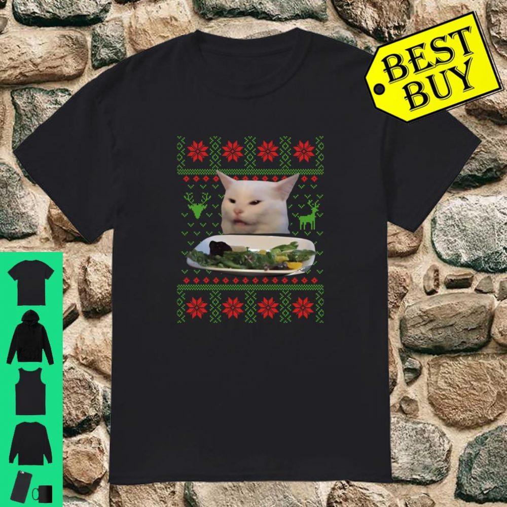 Woman Yelling At Cat Ugly Christmas Sweater Meme Shirt