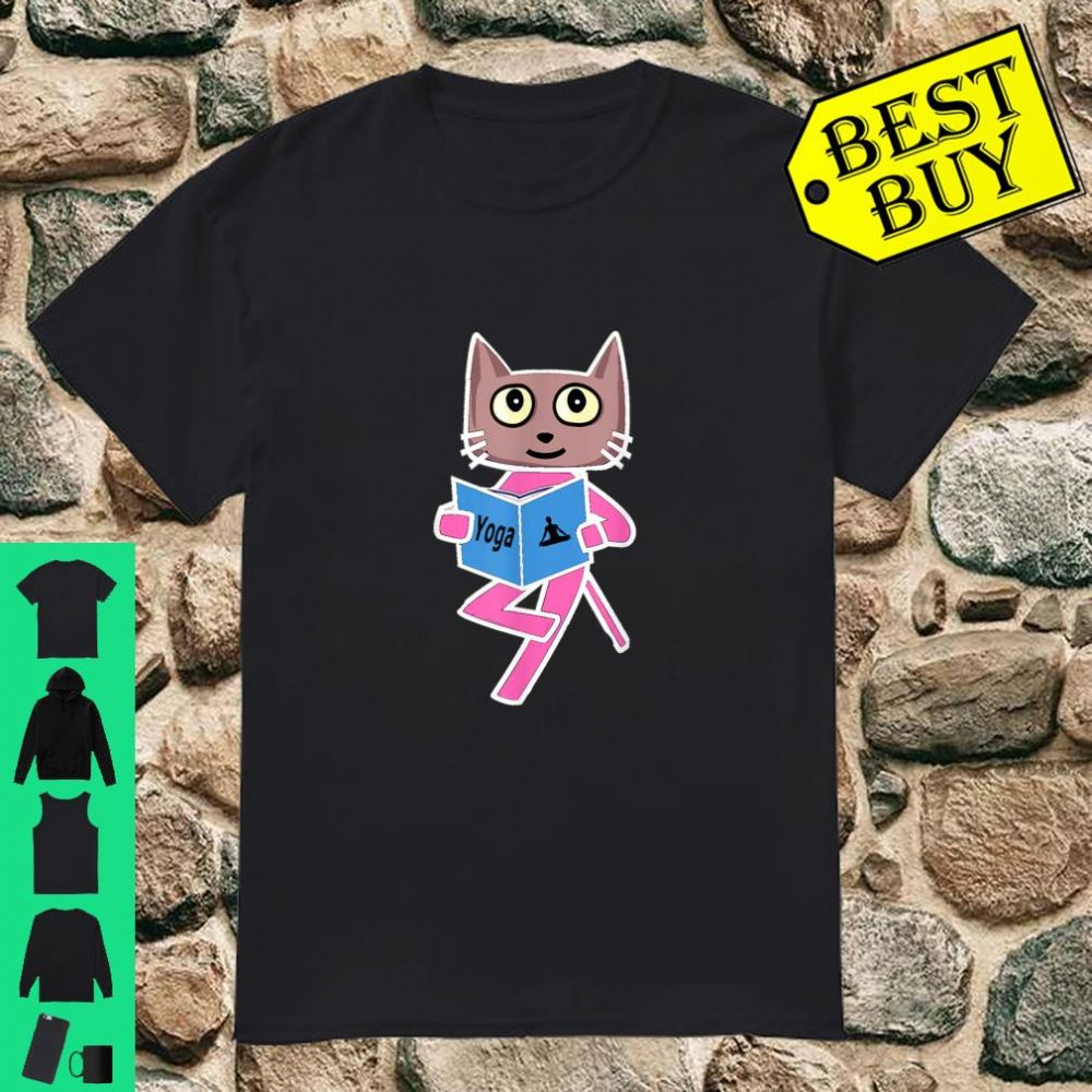 Yoga Shirt With Cool Cat Design For Gym And Fitness Workout. Shirt