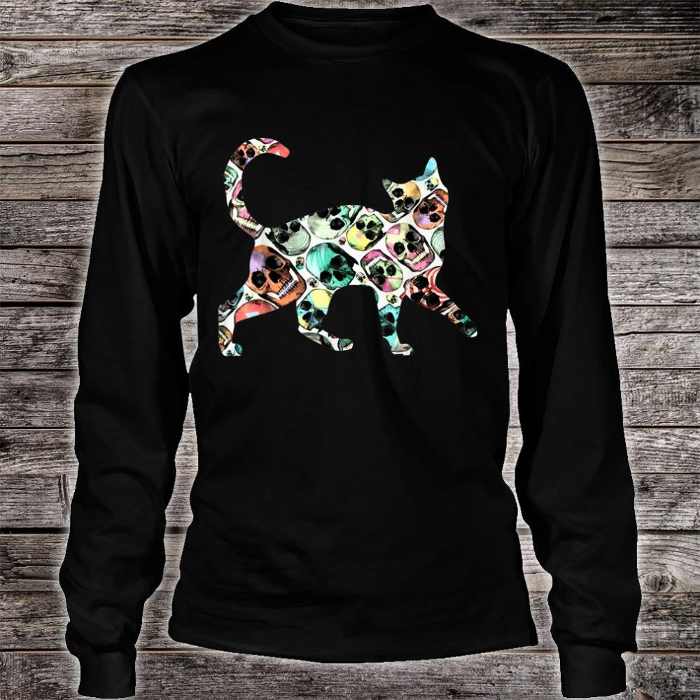 Zombie Cat Skull Halloween Cute Costume Shirt long sleeved