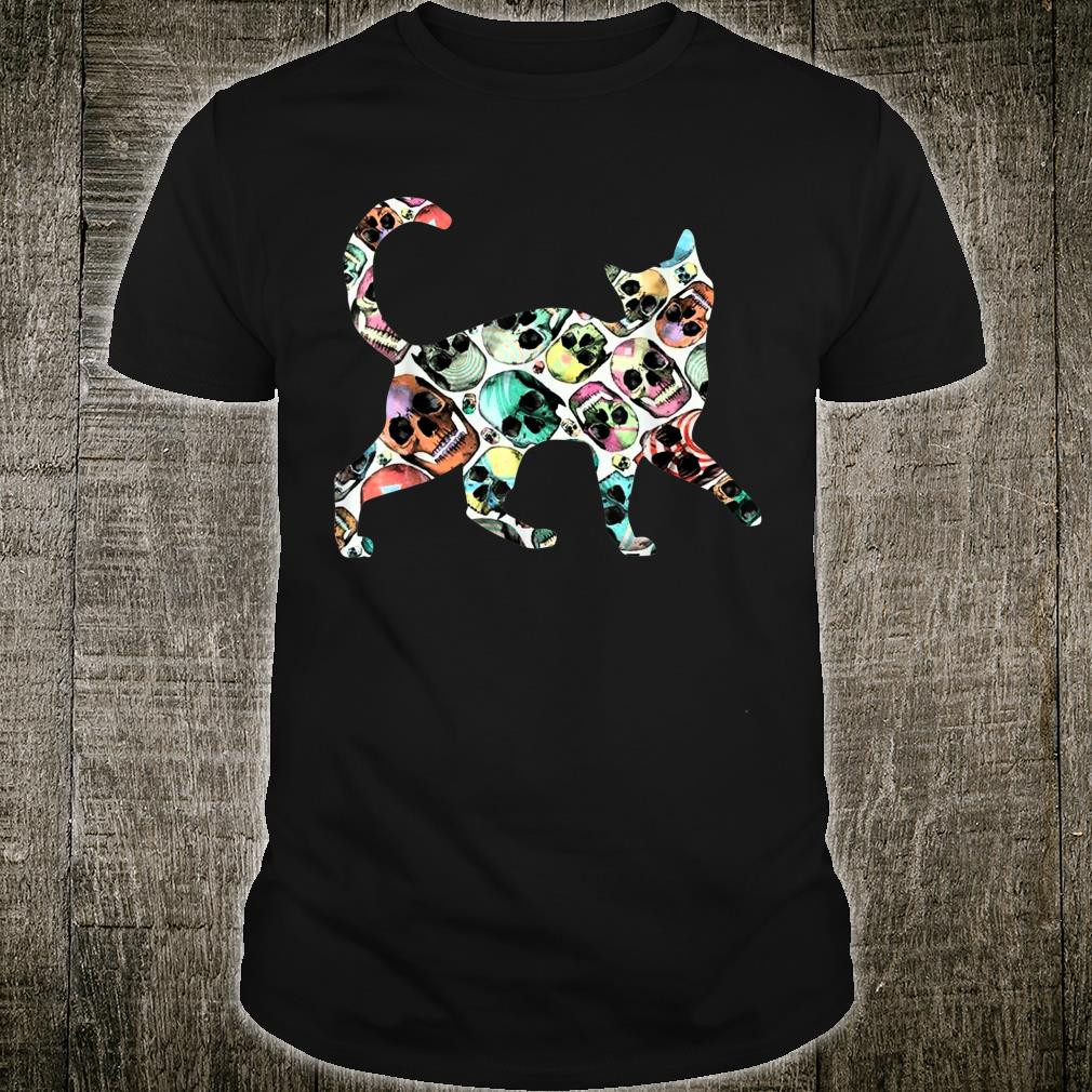 Zombie Cat Skull Halloween Cute Costume Shirt