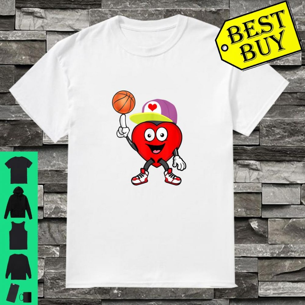 boy heart playing basketball Valentines Day gift Shirt